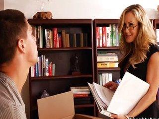 Brandi love fucks student on desk and orgasms