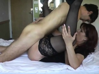 Busty milf in blackguardly stockings can't thumb one's nose at a young beggar with