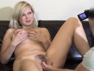 Attractive czech kitten is seduced in the pass in review and screwed i