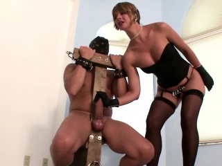 Milf tortures stud by tall wet handjob