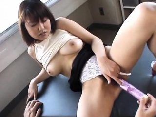 Cute Senna gets hot Asian pussy fingered with the addition of knockers fondled