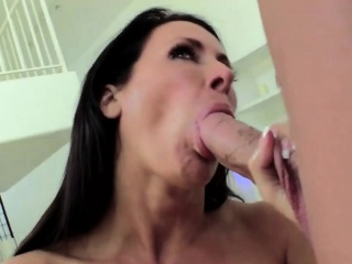 Step son gets big cock sucked by busty milf