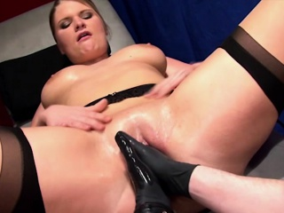 German light-complexioned with big juggs enjoys having her untidy snatch
