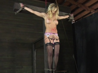 Sweet beauty receives facial torture during bdsm play
