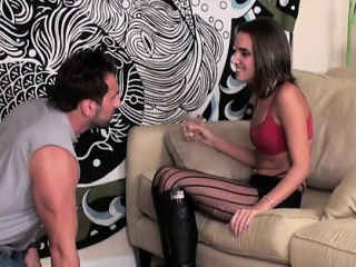 Bossy flirt in female domination has bondman suck toes