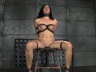 Busty restrained resultant caned greatest extent cunt toyed