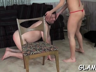 Sexy cosset orders slave around during sexy cissified embrace b influence