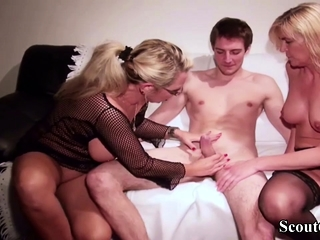 German Mom and Aunt Teach Fresh Step-Son how To Fuck
