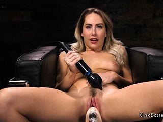 Blonde vibrates clit plus fucks utensil