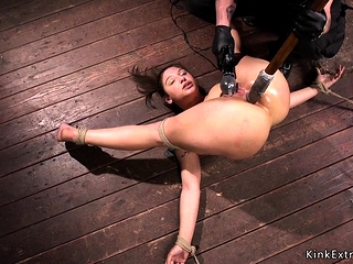Hogtied dominate ill-lit anal toyed