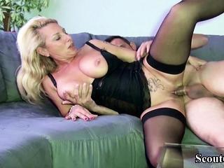 German Heavy Tits MILF seduce Friend of Lady to Fuck her