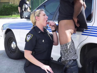 Horny milf cop sucks on the Mafia balls