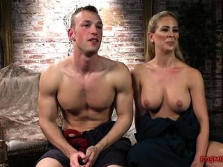 Blonde pegs her slave