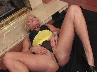 Blonde mom teasing pretty pussy