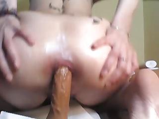 Big dildo anal play and stare