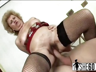 Old granny fucking with younger lover in some reverse cowgirl then finishes him off in her mouth
